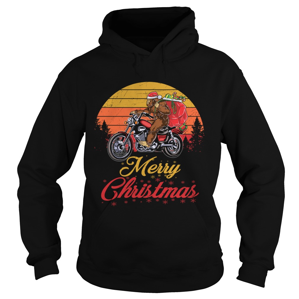Bigfoot Santa Riding Motorcycle Delivers Christmas Gifts TShirt Hoodie