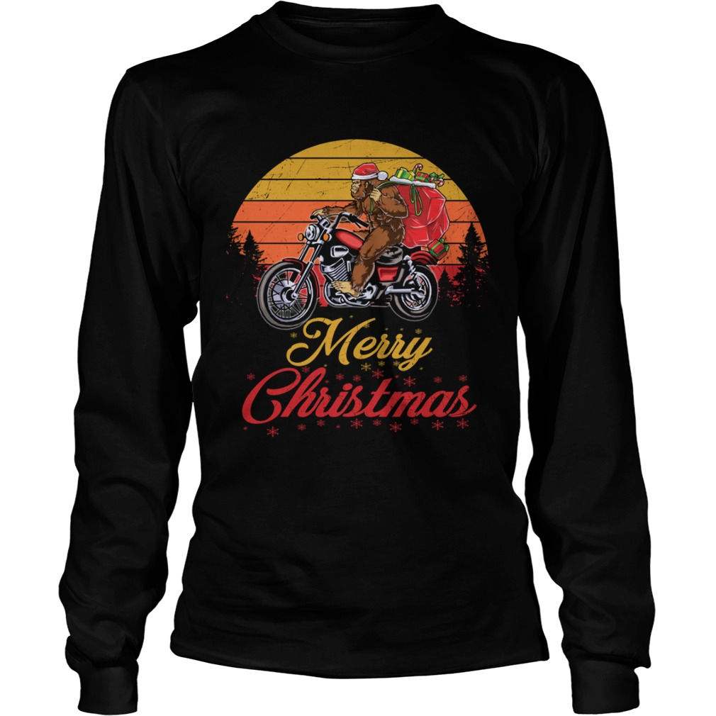 Bigfoot Santa Riding Motorcycle Delivers Christmas Gifts TShirt LongSleeve