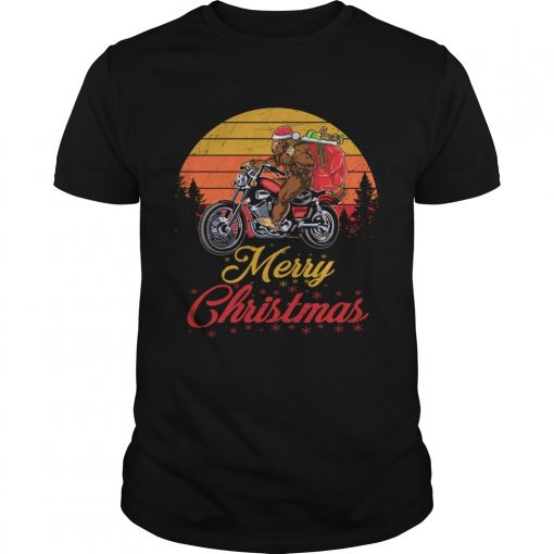 Bigfoot Santa Riding Motorcycle Delivers Christmas Gifts TShirt Unisex