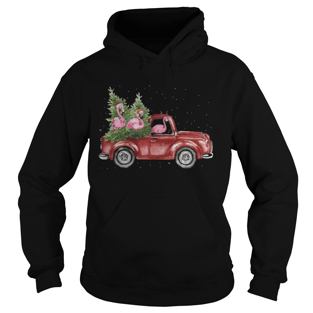 Flamingo Christmas Truck Shirt Hoodie
