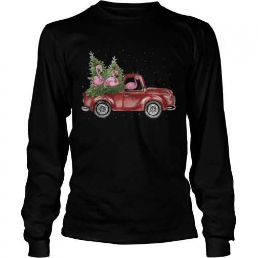 Flamingo Christmas Truck Shirt LongSleeve