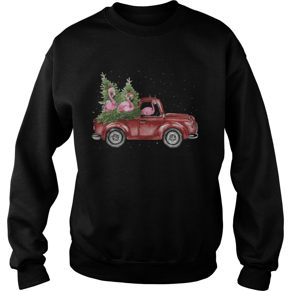 Flamingo Christmas Truck Shirt Sweatshirt
