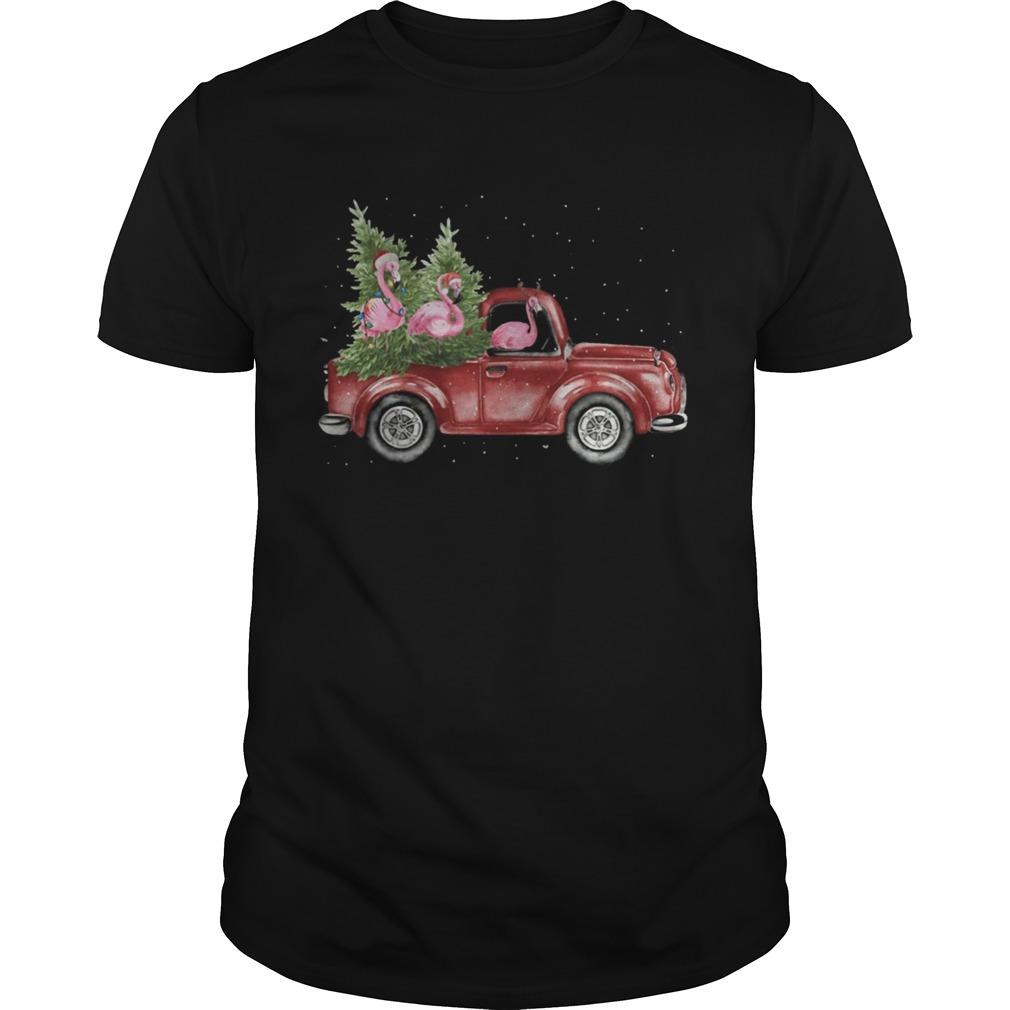 Flamingo Christmas Truck Shirt Unisex