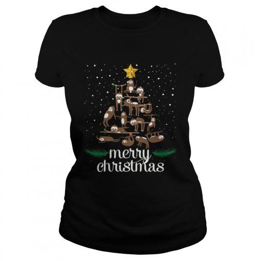 Funny Sloth Christmas Pine Tree Merry Christmas TShirt Classic Ladies