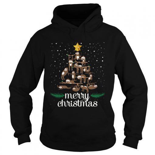 Funny Sloth Christmas Pine Tree Merry Christmas TShirt Hoodie