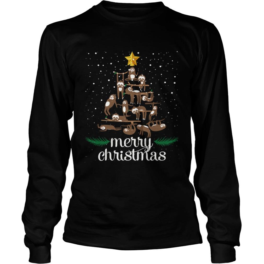 Funny Sloth Christmas Pine Tree Merry Christmas TShirt LongSleeve