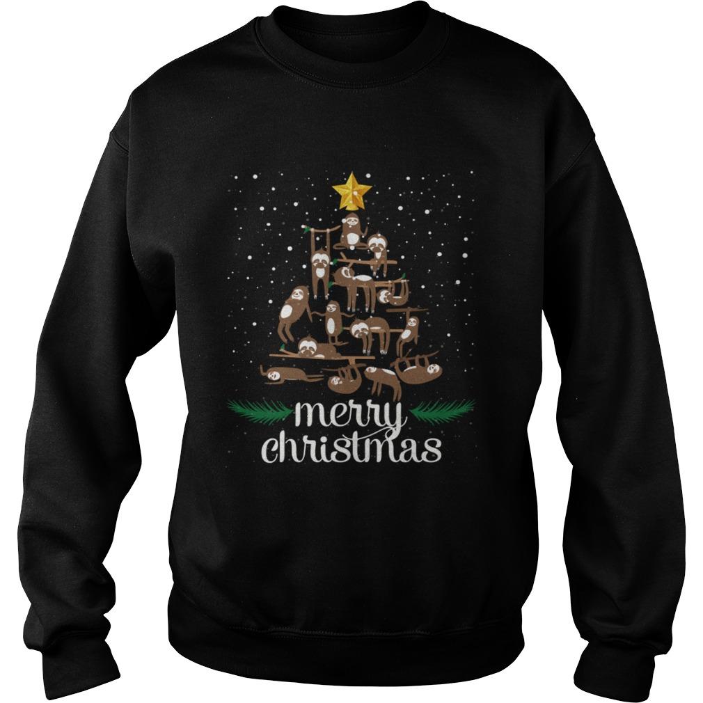 Funny Sloth Christmas Pine Tree Merry Christmas TShirt Sweatshirt