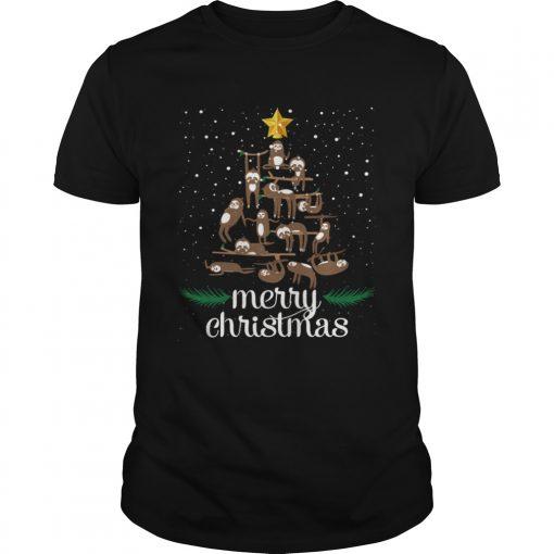 Funny Sloth Christmas Pine Tree Merry Christmas TShirt Unisex