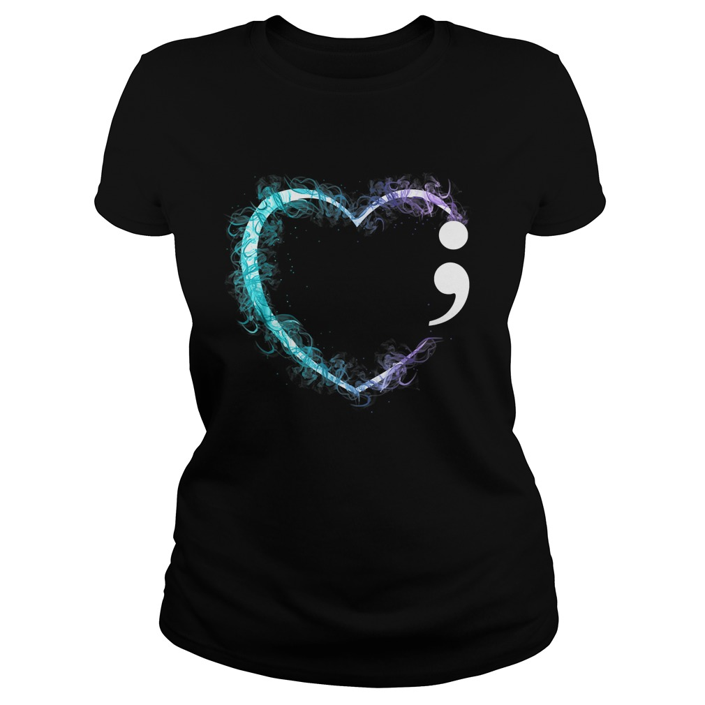 Heart Semicolon Suicide Prevention Awareness TShirt Classic Ladies