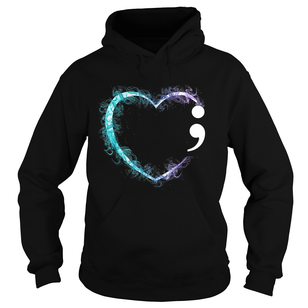 Heart Semicolon Suicide Prevention Awareness TShirt Hoodie