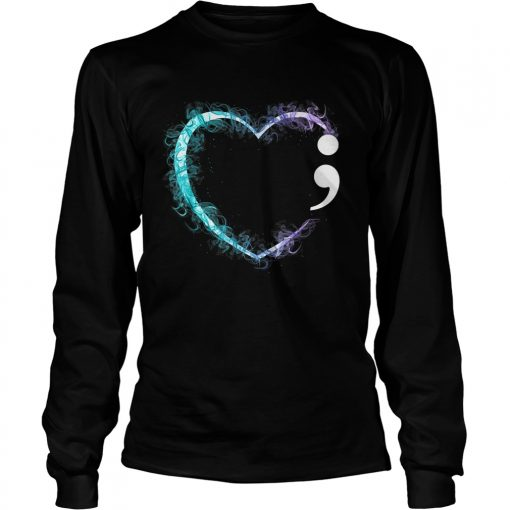 Heart Semicolon Suicide Prevention Awareness TShirt LongSleeve