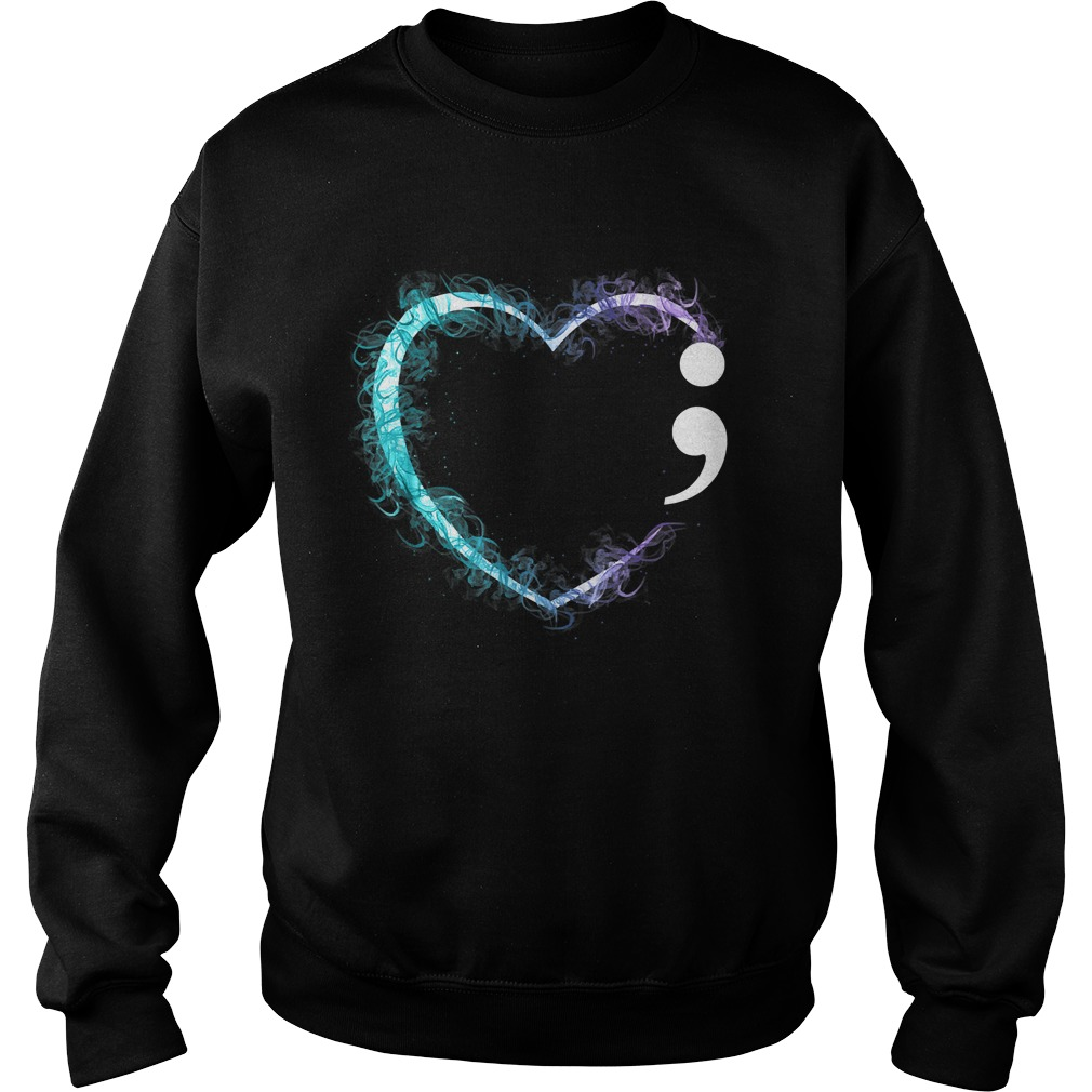 Heart Semicolon Suicide Prevention Awareness TShirt Sweatshirt