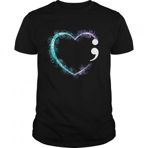 Heart Semicolon Suicide Prevention Awareness TShirt Unisex