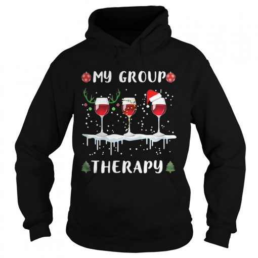 My group therapy wine glass Christmas  Hoodie
