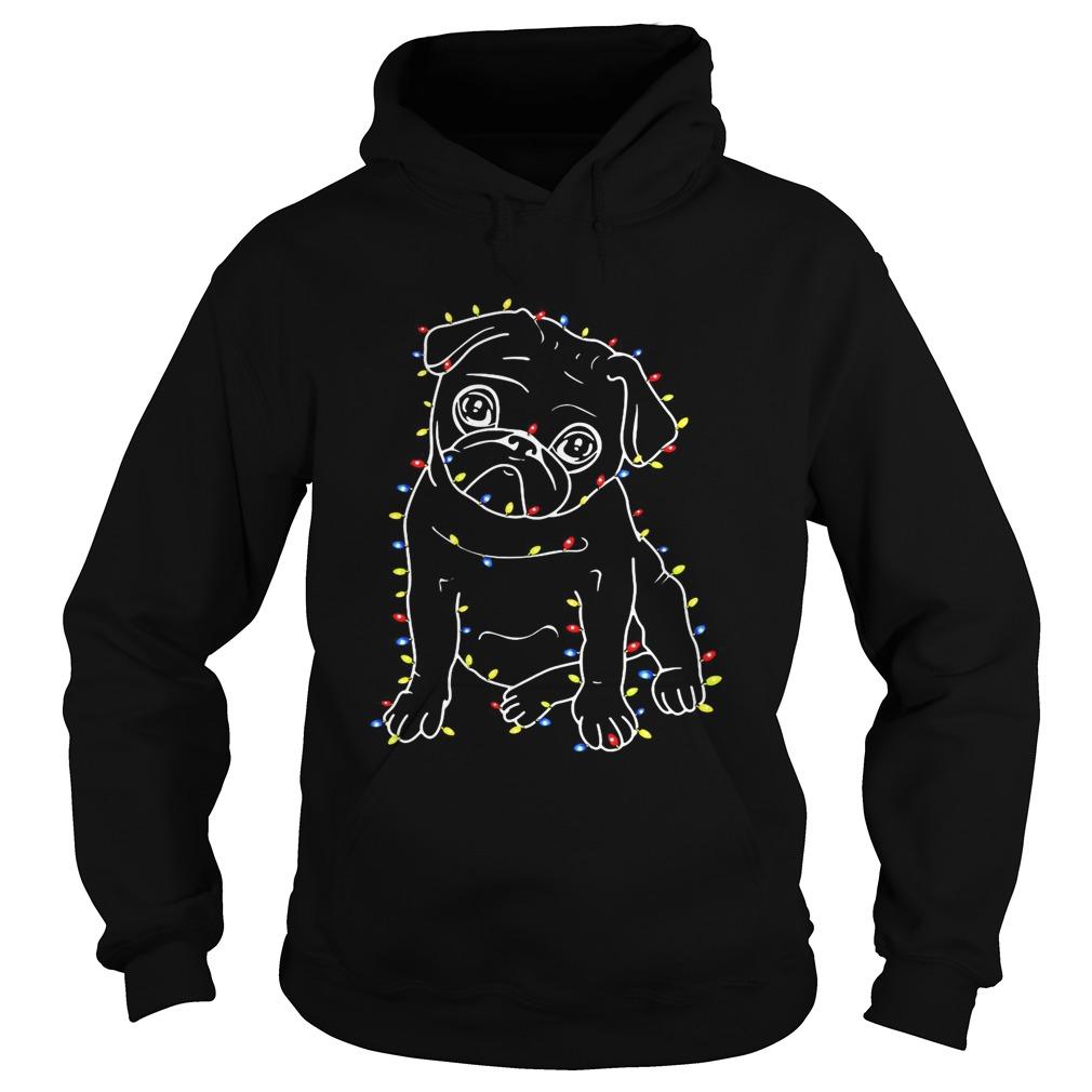 Pug Christmas lights xmas Hoodie