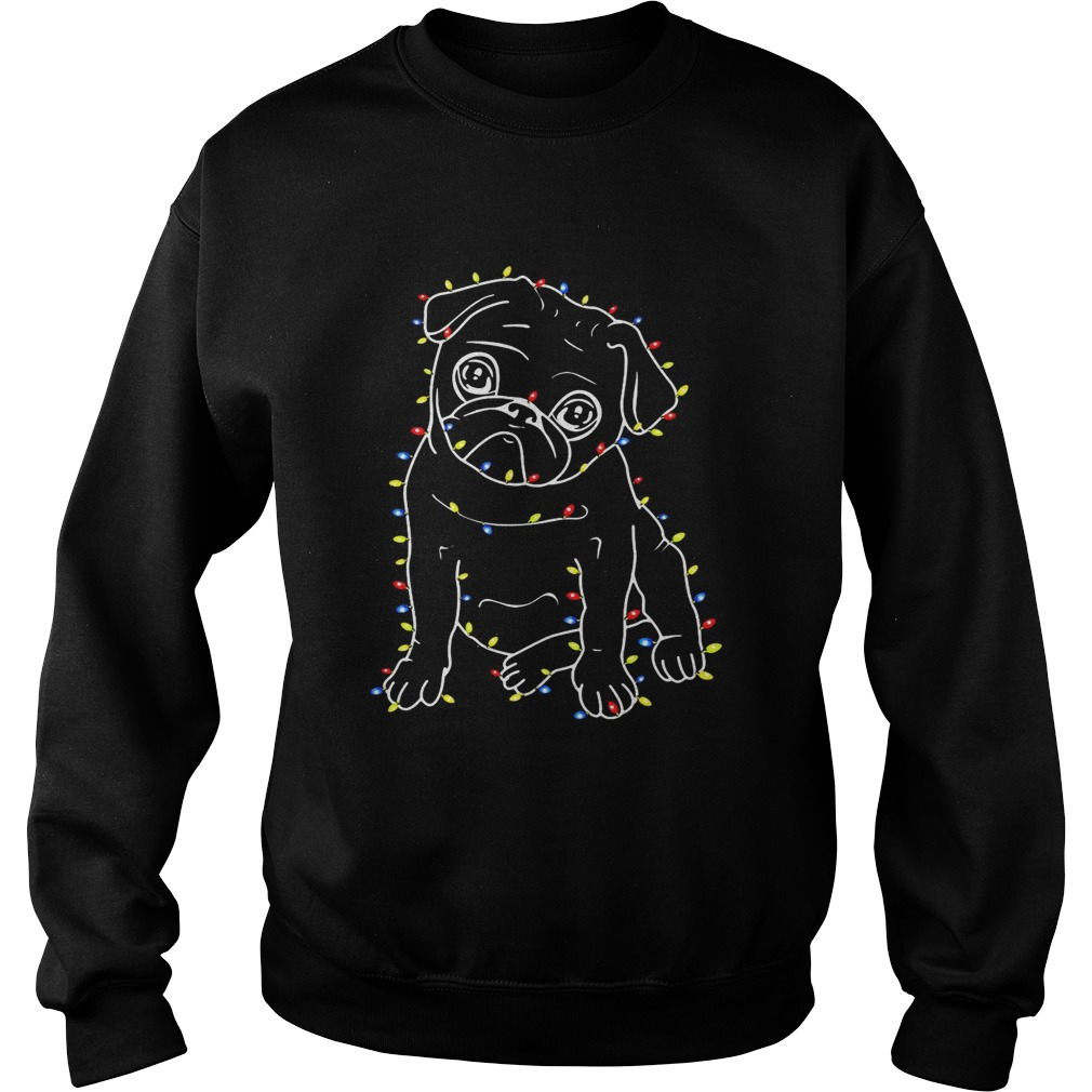 Pug Christmas lights xmas Sweatshirt
