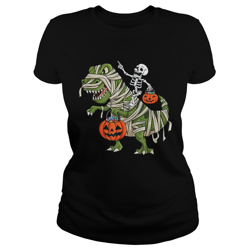 Skeleton Riding T Rex Funny Halloween Boys Girls KidsTShirt Classic Ladies
