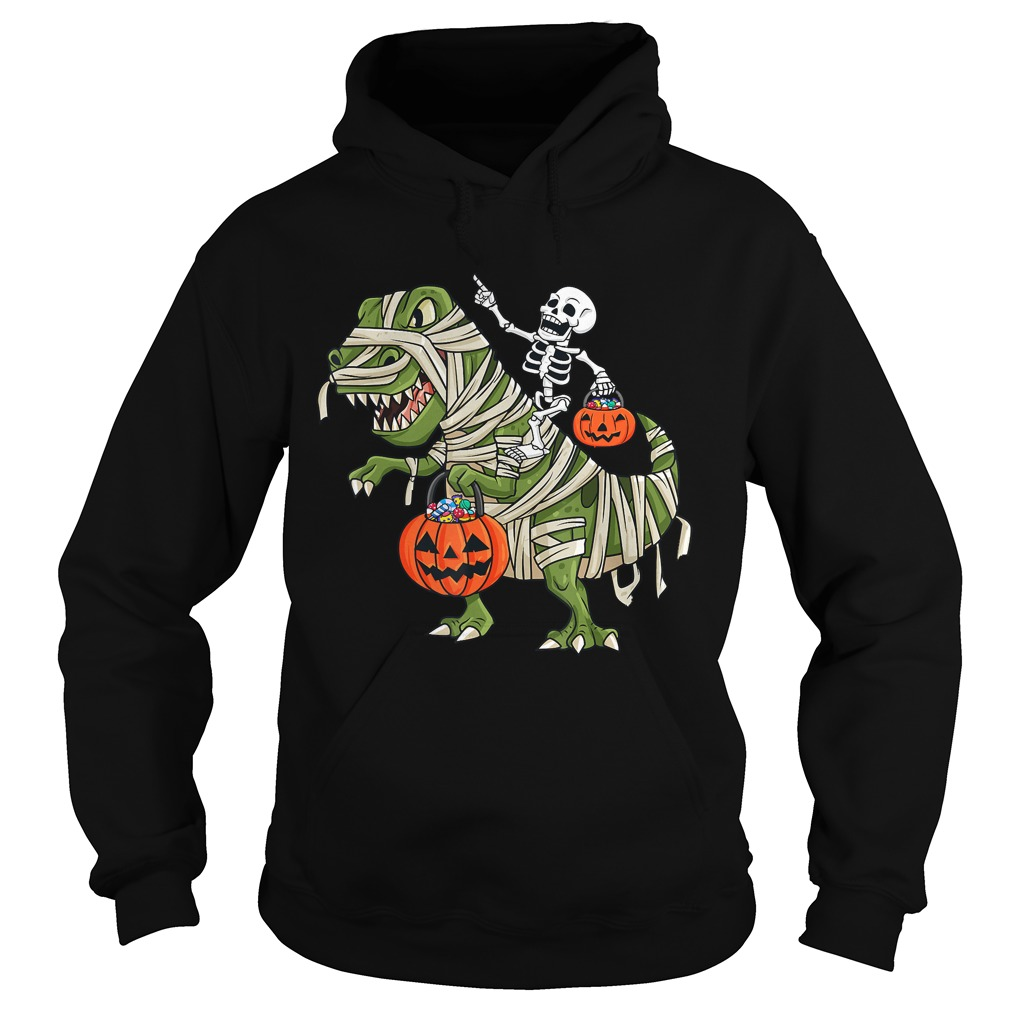 Skeleton Riding T Rex Funny Halloween Boys Girls KidsTShirt Hoodie
