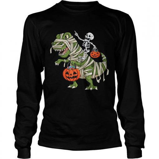Skeleton Riding T Rex Funny Halloween Boys Girls KidsTShirt LongSleeve