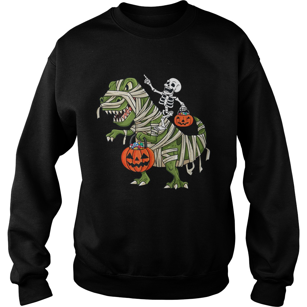 Skeleton Riding T Rex Funny Halloween Boys Girls KidsTShirt Sweatshirt