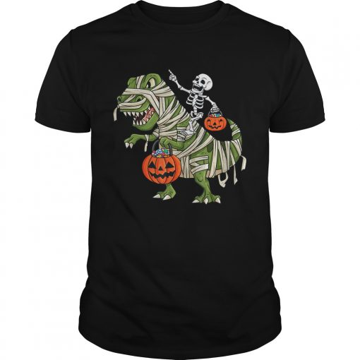Skeleton Riding T Rex Funny Halloween Boys Girls KidsTShirt Unisex