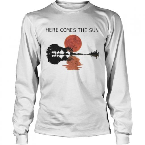 Sunset Guitar Water Reflection Here Comes The Sun Shirt LongSleeve