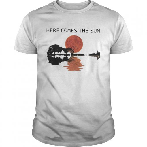 Sunset Guitar Water Reflection Here Comes The Sun Shirt Unisex