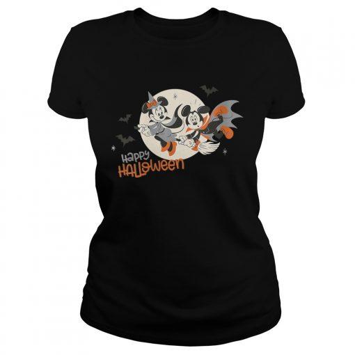 Womens Disney Halloween Minnie and Minnie Flying VNeck TShirt Classic Ladies
