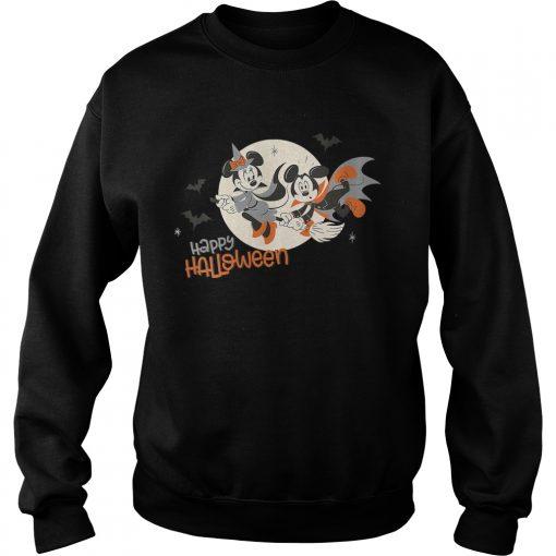 Womens Disney Halloween Minnie and Minnie Flying VNeck TShirt Sweatshirt