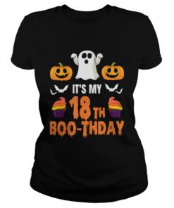 1571796006Halloween 18th Birthday Boo-thday T-Shirt Classic Ladies