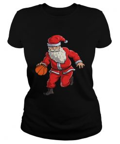 Basketball Santa Funny Christmas Gift with Hat Ball Sport TShirt Classic Ladies