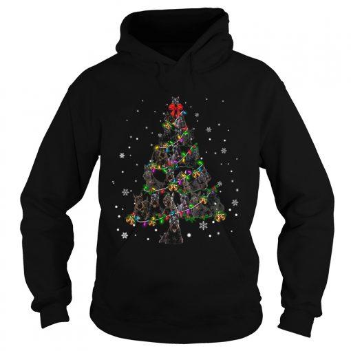 Black Scottie Christmas Tree TShirt Hoodie