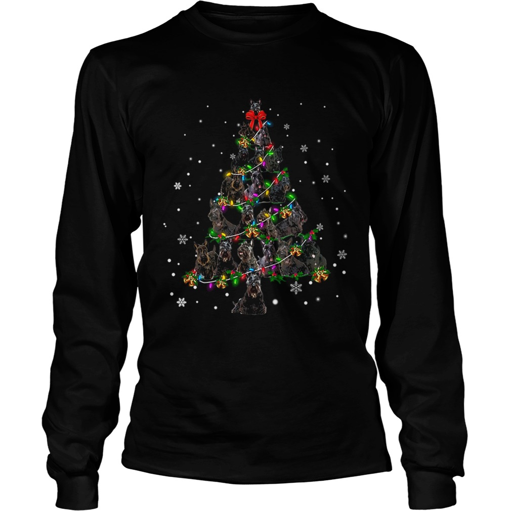 Black Scottie Christmas Tree TShirt LongSleeve