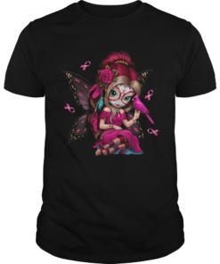Cute Breast Cancer Girl Sugar Skull Costume Halloween TShirt Unisex