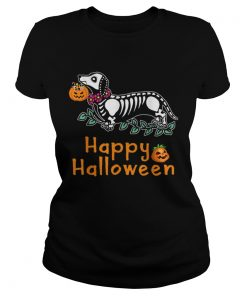 Dachshund Skeleton Pumpkin Happy Halloween  Classic Ladies