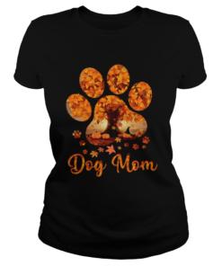 Dog Mom Autumn Leaves Halloween TShirt Classic Ladies