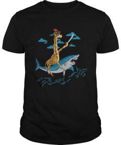 Giraffe Pirate Riding Shark Sword Cute Animal Halloween Gift TShirt Unisex