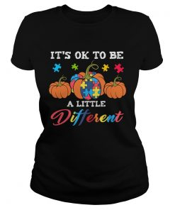 Halloween Autism Pumpkin Its OK to be a little different TShirt Classic Ladies