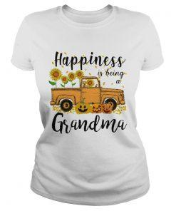 Halloween Car Pumpkin Happiness Is Being A Grandma TShirt Classic Ladies