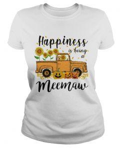 Halloween Car Pumpkin Happiness Is Being A Meemaw TShirt Classic Ladies