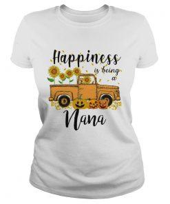 Halloween Car Pumpkin Happiness Is Being A Nana TShirt Classic Ladies