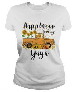 Halloween Car Pumpkin Happiness Is Being A Yaya TShirt Classic Ladies