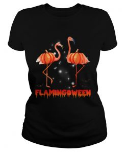 Halloween Custome Flamingo Flamingween pumpkin  Classic Ladies