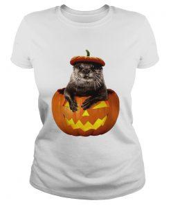 Halloween Otter Pumpkin Funny Otter Lover TShirt Classic Ladies