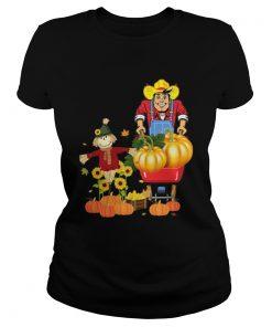 Happy Harvest Scarecrow Pumpkin Patch Novelty TShirt Classic Ladies