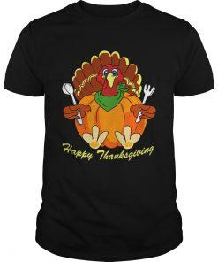 Happy Thanksgiving Hungry Turkey Holding Shirt Unisex