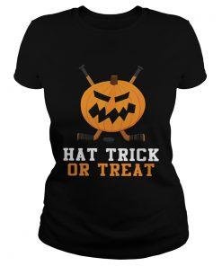 Hockey Pumpkin Hat Trick Or Treat Halloween Shirt Classic Ladies