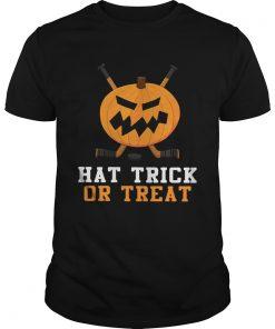 Hockey Pumpkin Hat Trick Or Treat Halloween Shirt Unisex