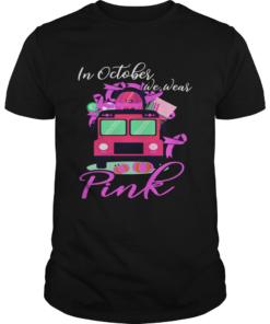 In October We Wear Bus Pink Pumpkin Breast Cancer Halloween TShirt Unisex