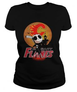 Jack Skellington Holding Hockey Stick Calgary Flames Sunset  Classic Ladies